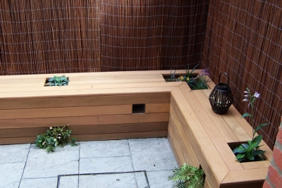 Courtyard garden bespoke seated planter